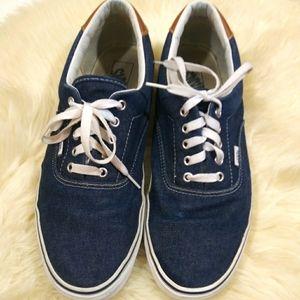Men's Denim Blue Low Top Vans Sneakers